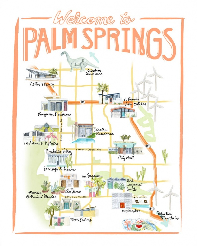 Customizable Palm Springs Map Illustration | Etsy - Where Is Palm Springs California On A Map