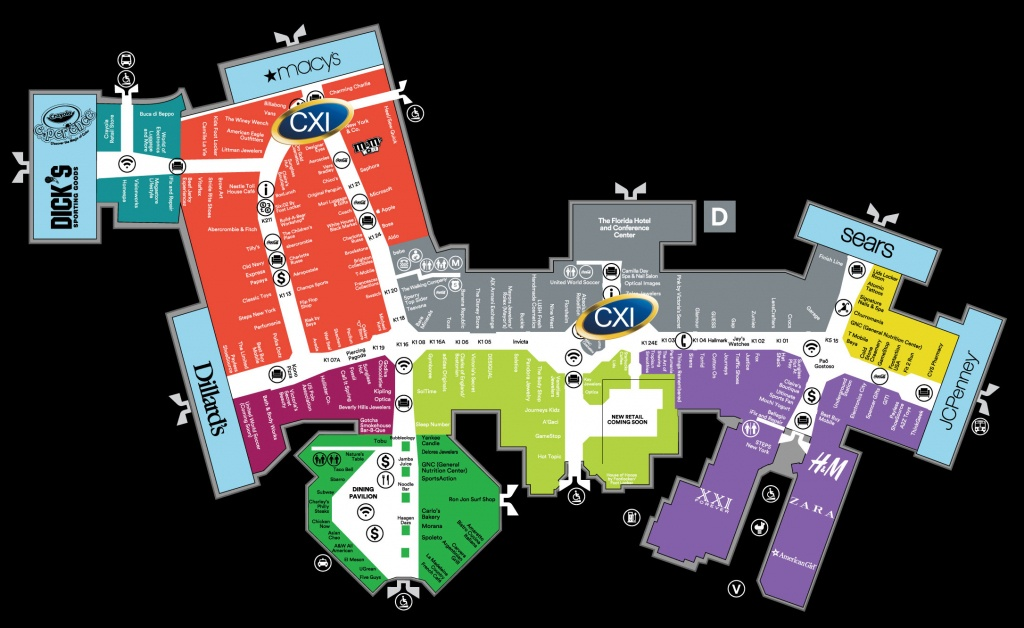 Cxi • Orlando's Currency Exchange • The Florida Mall, Icon Park, And - Florida Outlet Malls Map