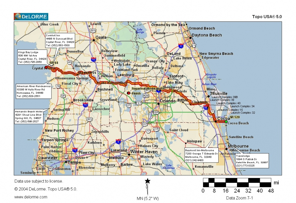 Cycling Routes Crossing Florida - Coco Beach Florida Map