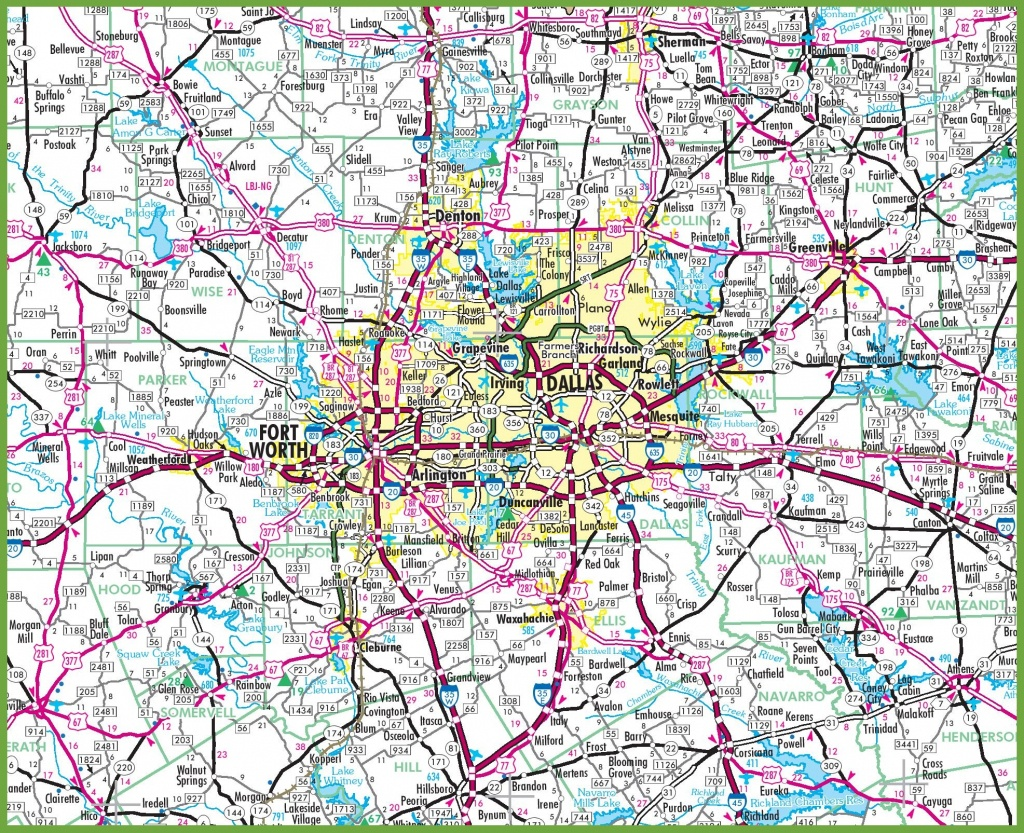 Dallas Area Road Map - Printable Map Of Dallas
