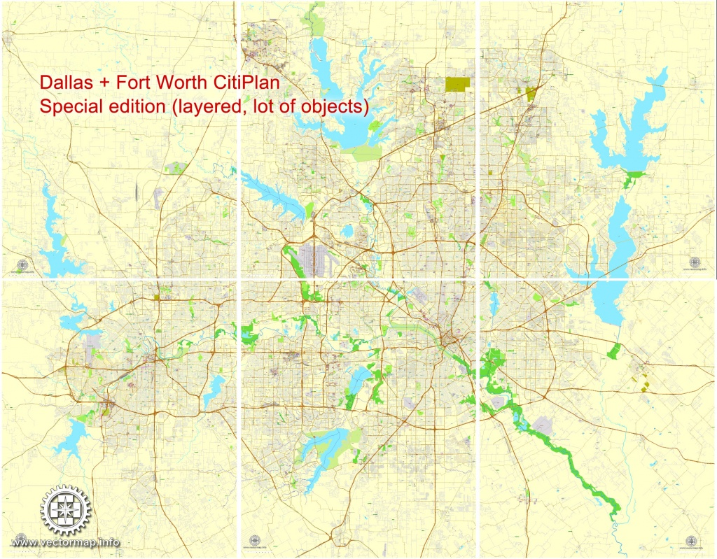 Dallas + Fort Worth Tx Pdf Map, Us, Exact Vector Street Cityplan Map - Fort Worth Texas Map