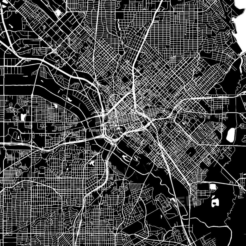 Dallas, Texas, Downtown Map, Dark - Map Of Downtown Dallas Texas