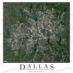 Dallas, Tx Satellite Map Print | Aerial Image Poster   Aerial Map Of Texas
