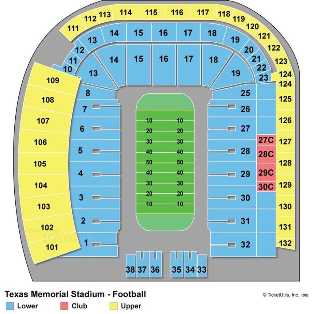 Darrell K Royal-Texas Memorial Stadium - Maplets - Dkr Texas Memorial Stadium Map