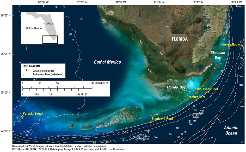 Data Release - Underwater Temperature On Off-Shore Coral Reefs Of - Coral Reefs In Florida Map