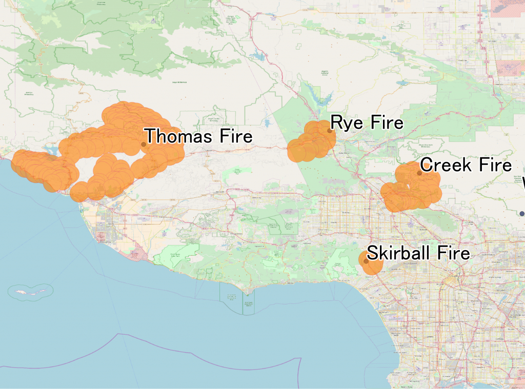 December 2017 Southern California Wildfires - Wikipedia - Map Showing Current Fires In California