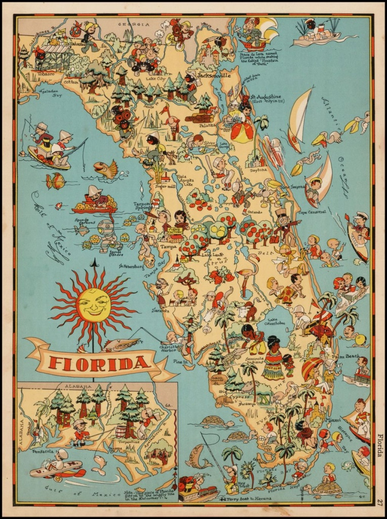 Decorative Whimsical Map Of Florida. | Florida | Florida Pictures - Vintage Florida Map Poster