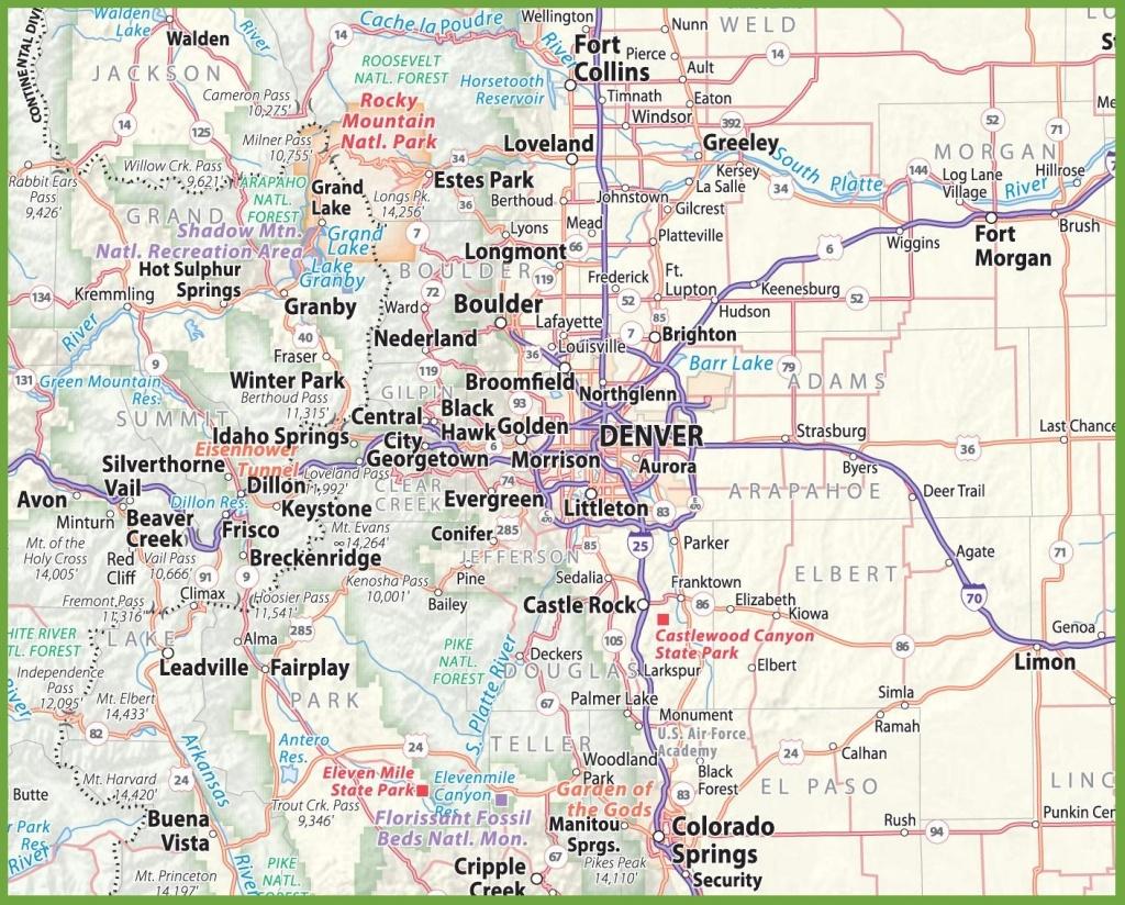Denver Area Road Map - Denver City Map Printable
