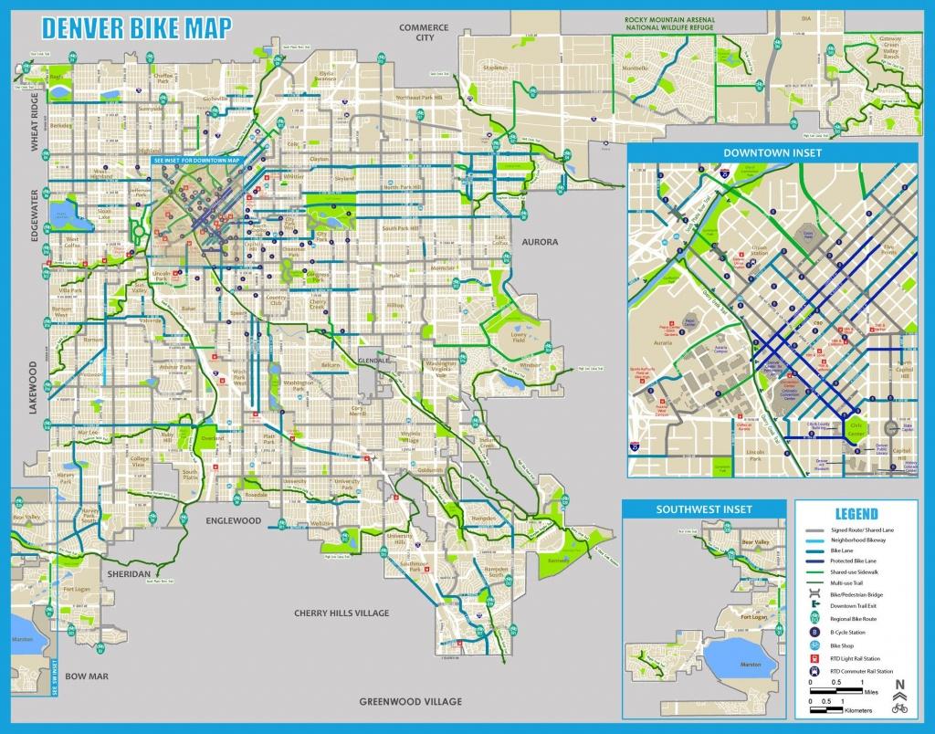 Denver Bike Map - Bike Map Denver (Colorado - Usa) - Denver City Map Printable