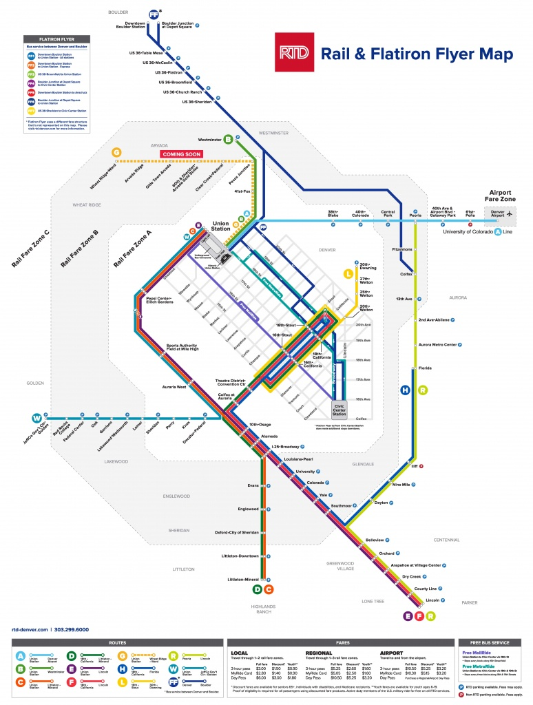 Denver Rtd Light Rail - Running 365 Days A Year | Denver Union Station - California Rail Pass Map
