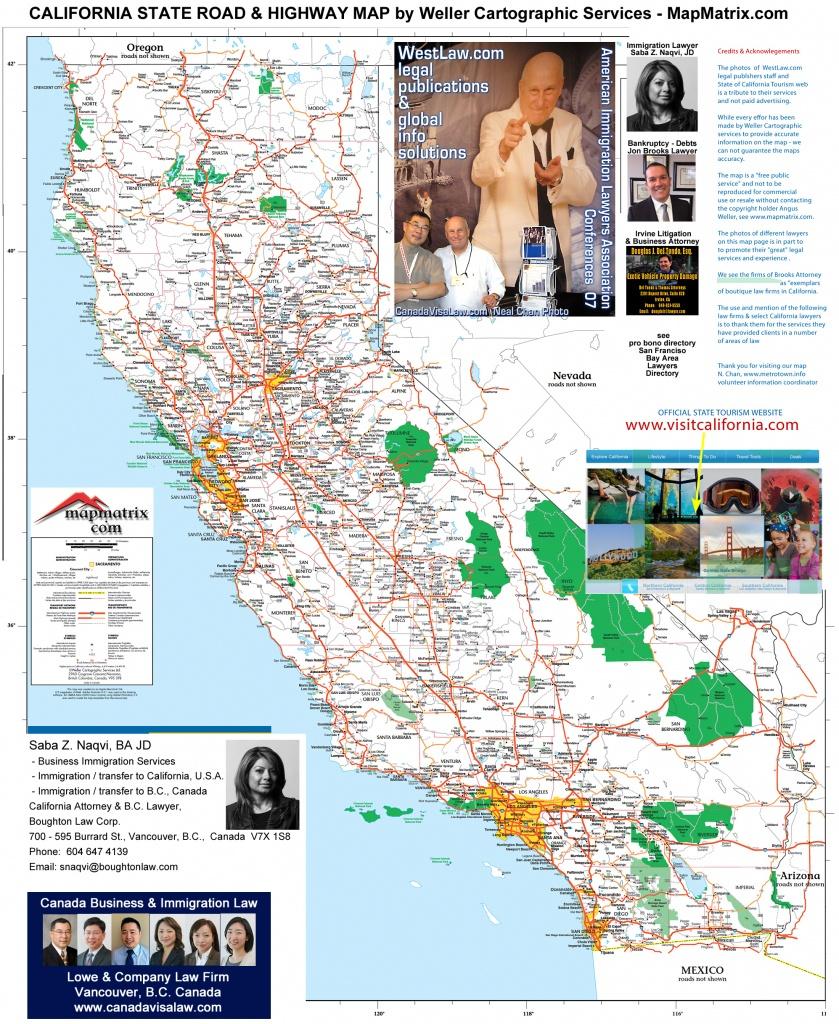 Detailed California Road / Highway Map - [2000 Pix Wide - 3 Meg - Road Map Oregon California