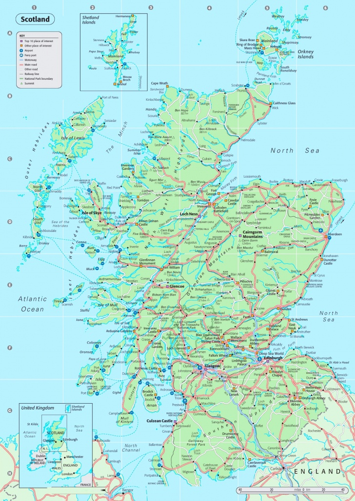 Detailed Map Of Scotland - Printable Map Of Scotland With Cities