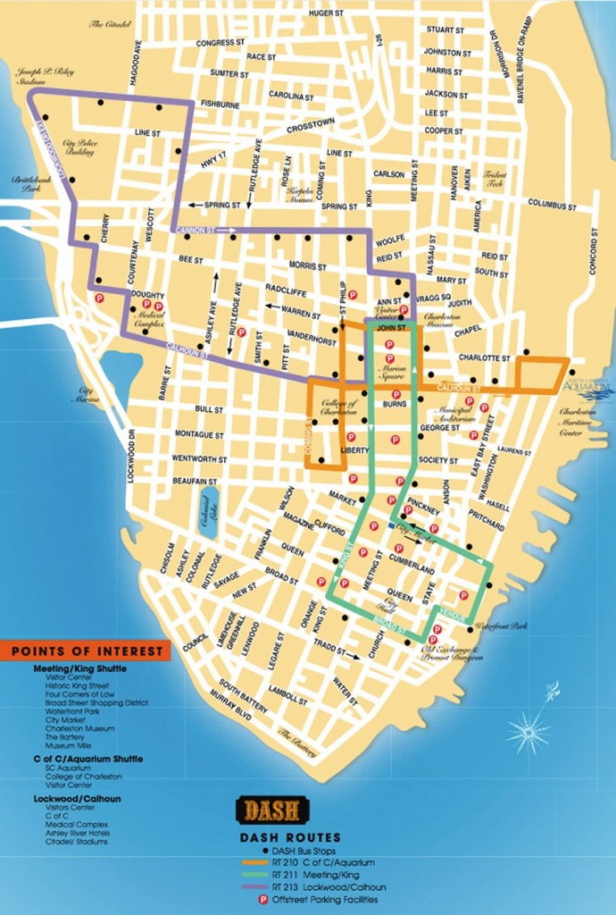 Detailed Map Of The Charleston Dash Trolley Routes. | Charleston Sc - Printable Map Of Charleston Sc Historic District