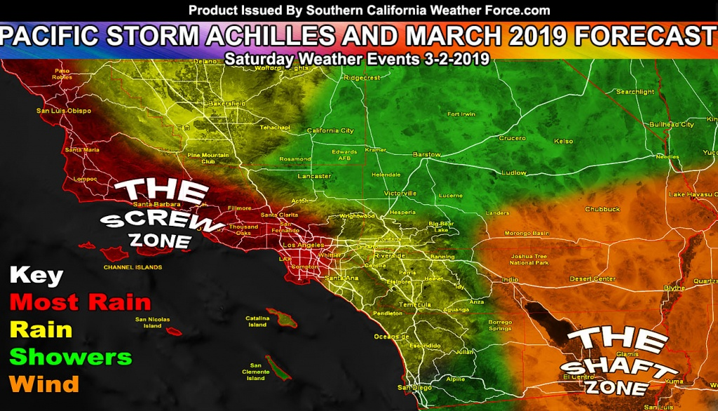 Detailed: March 2019 Weather Forecast Pattern For Southern - Southern California Weather Map