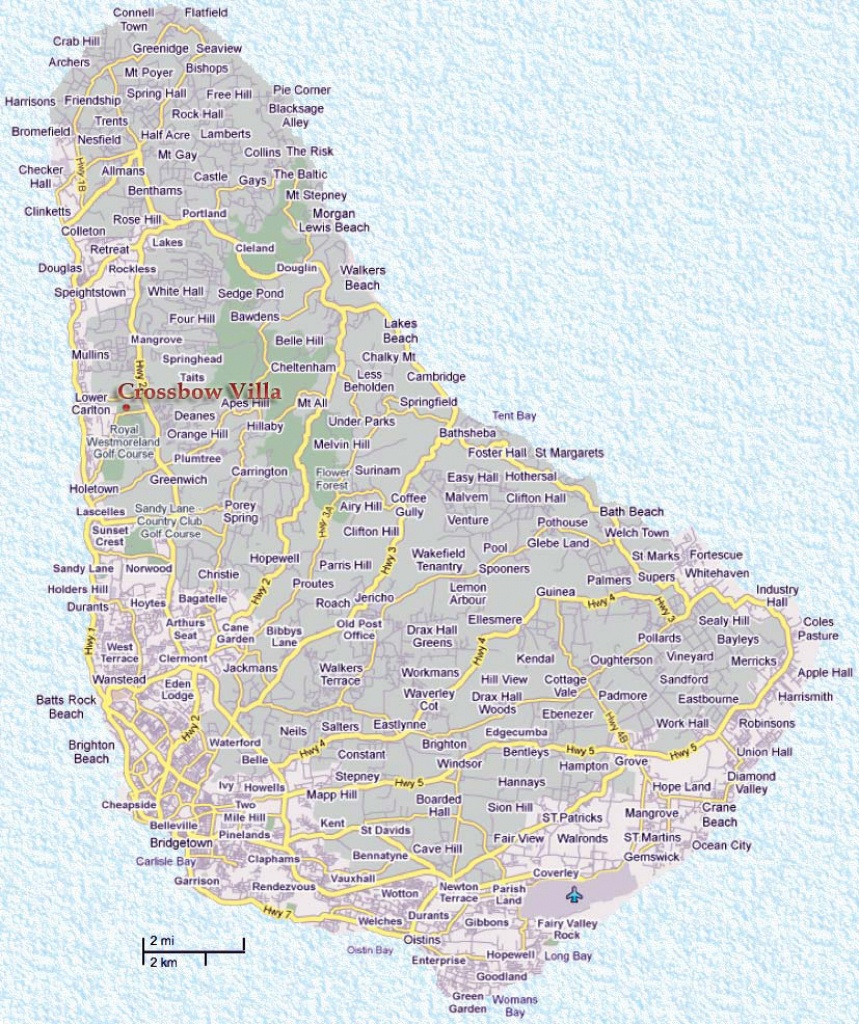 Detailed Road Map Of Barbados. Barbados Detailed Road Map | Vidiani - Printable Map Of Barbados