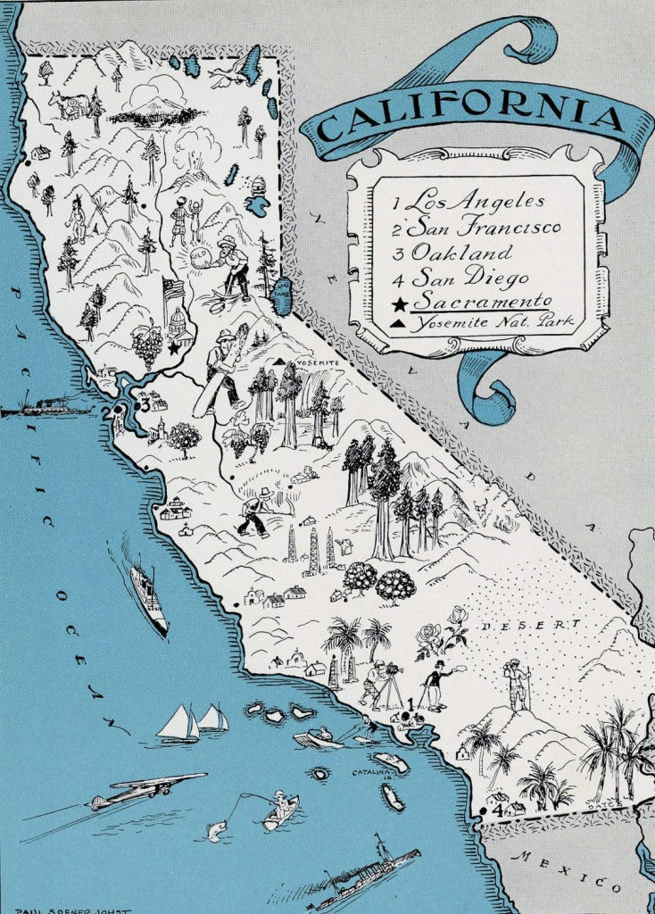 Detailed Tourist Illustrated Map Of California State | California - Illustrated Map Of California