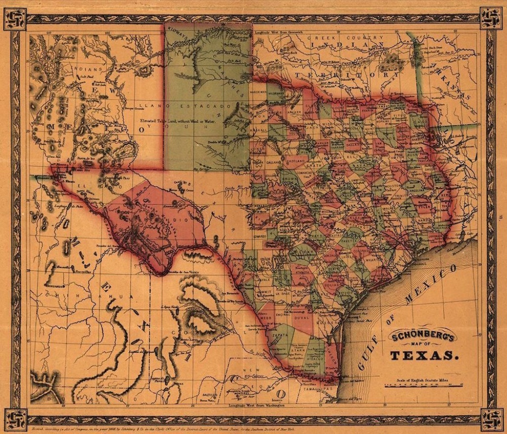 Details About Map Of Texas 1866 Antique State Map Rolled Canvas - Vintage Texas Map