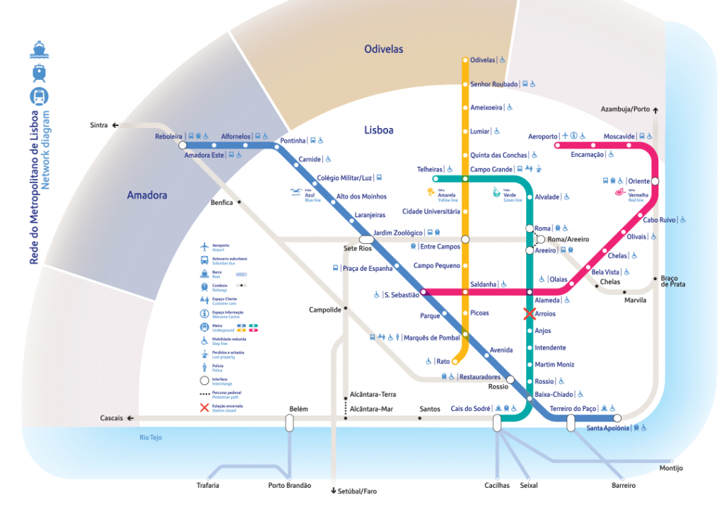 Diagrams And Maps - Metropolitano De Lisboa, Epe - English - Lisbon Metro Map Printable