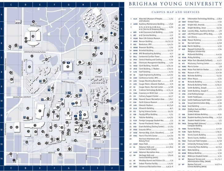 Byu Campus Map Printable