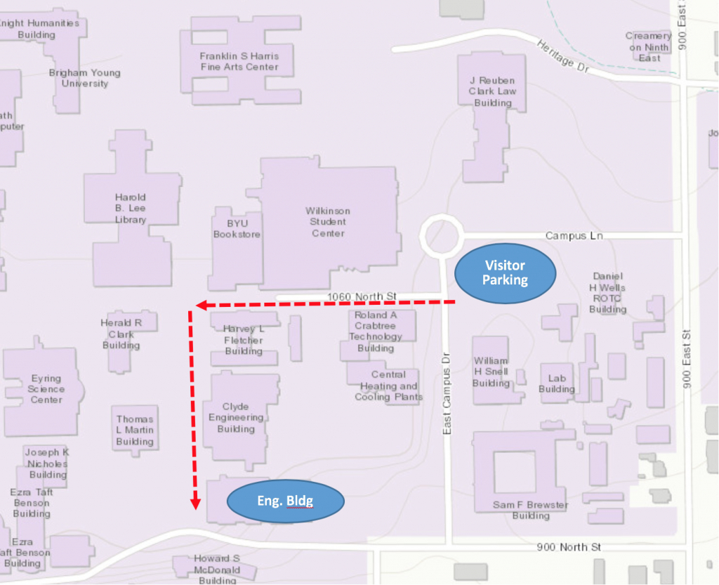 Directions & Maps | Mechanical Engineering - Byu Campus Map Printable