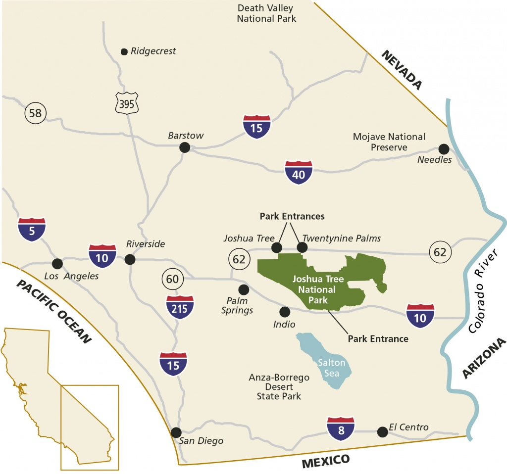 Directions & Transportation - Joshua Tree National Park (U.s. - Northern California State Parks Map