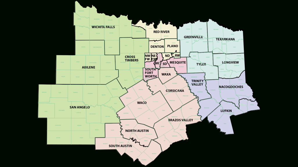 District Map – North Texas District Council Of The Assemblies Of God - Texas Property Map