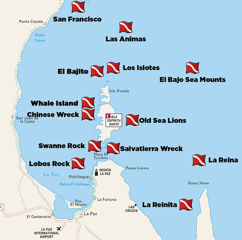 Dive-Sites-La-Paz - Divers Inn Mx | B&b For Diversdivers | La - La Paz Baja California Map