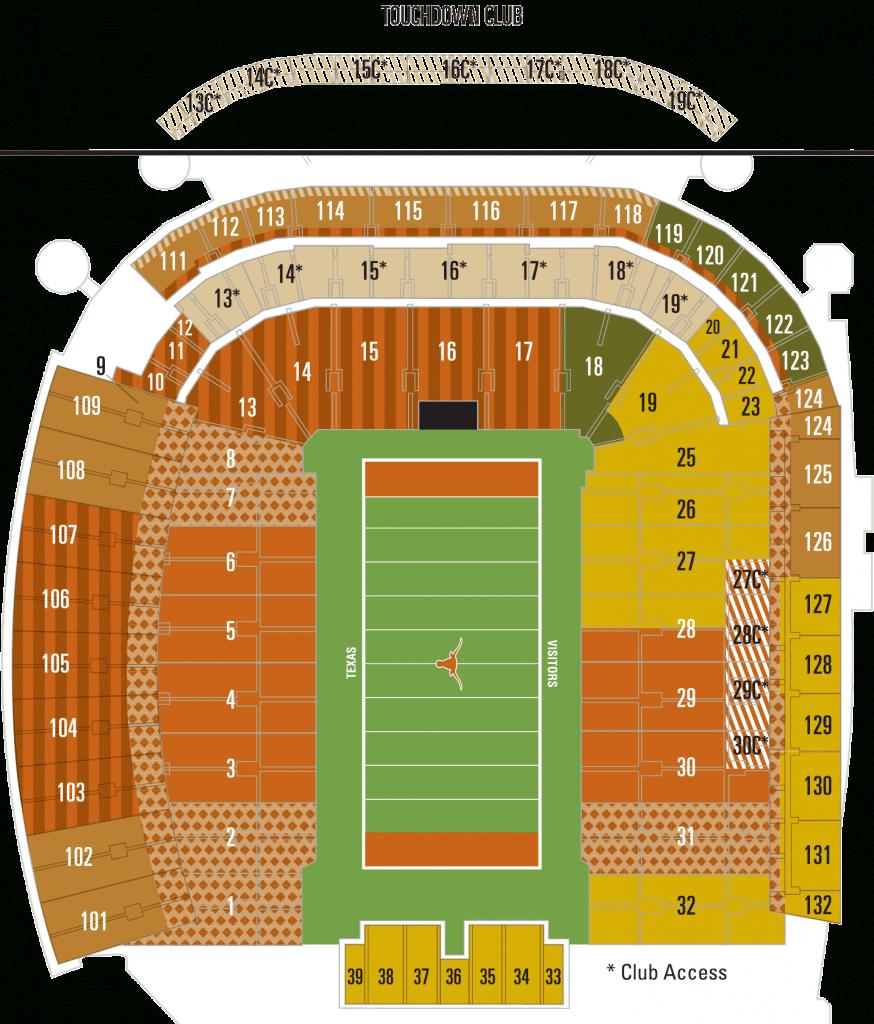 Dkr Seating Chart Darrell K Royal Texas Memorial Stadium Map - University Of Texas Stadium Map