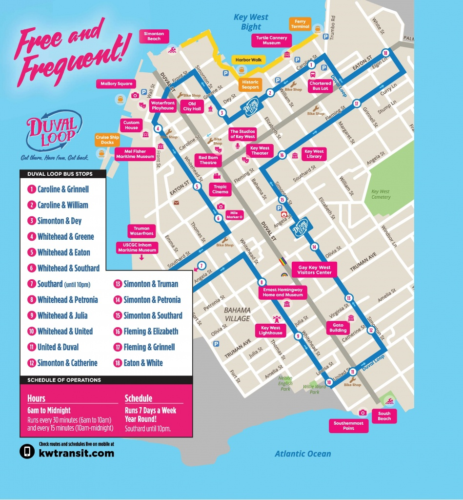 Document Center / Hop On - Hop Off The Free Duval Loop! / Key West, Fl - Key West Street Map Printable