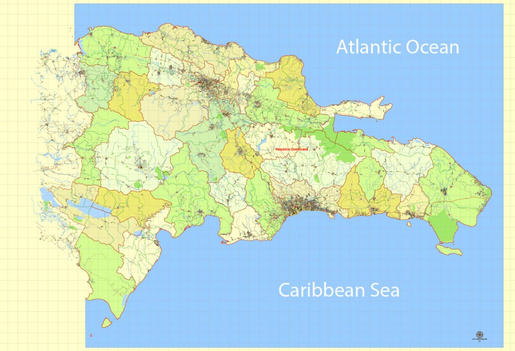 Dominican Republic Map Extra Detailed 01 Printable, Exact Vector - Printable Map Of Dominican Republic