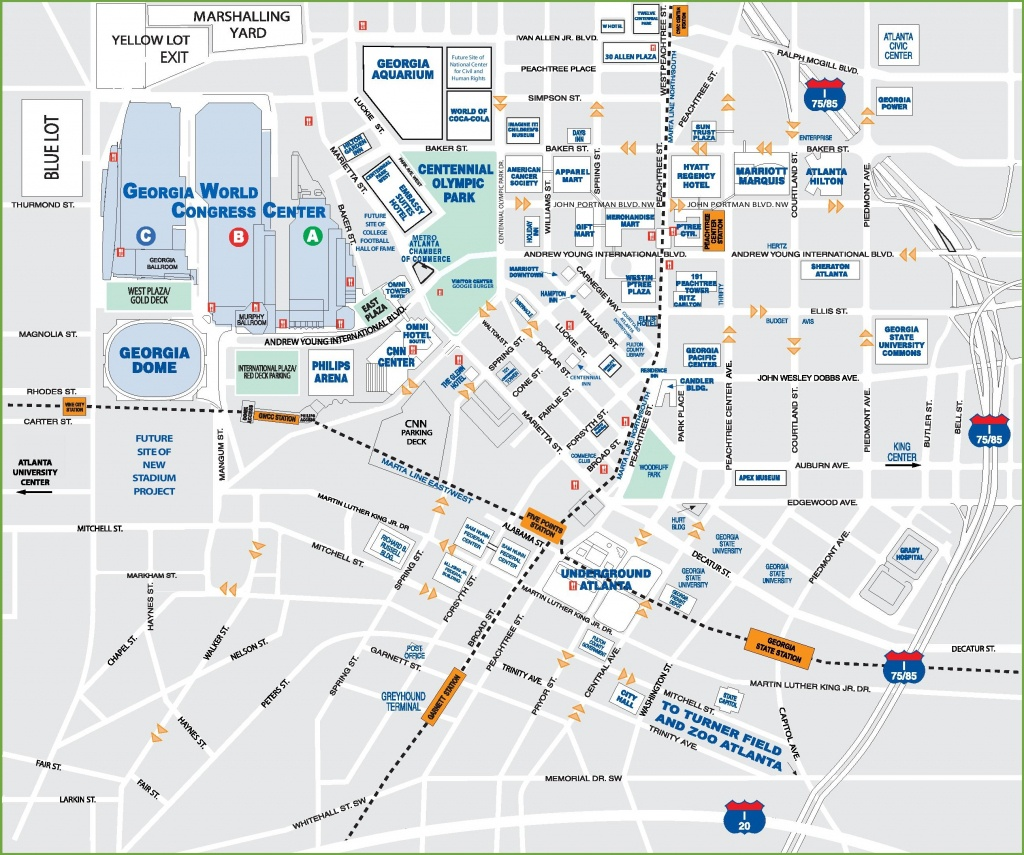 Downtown Atlanta Tourist Map - Printable Map Of Atlanta