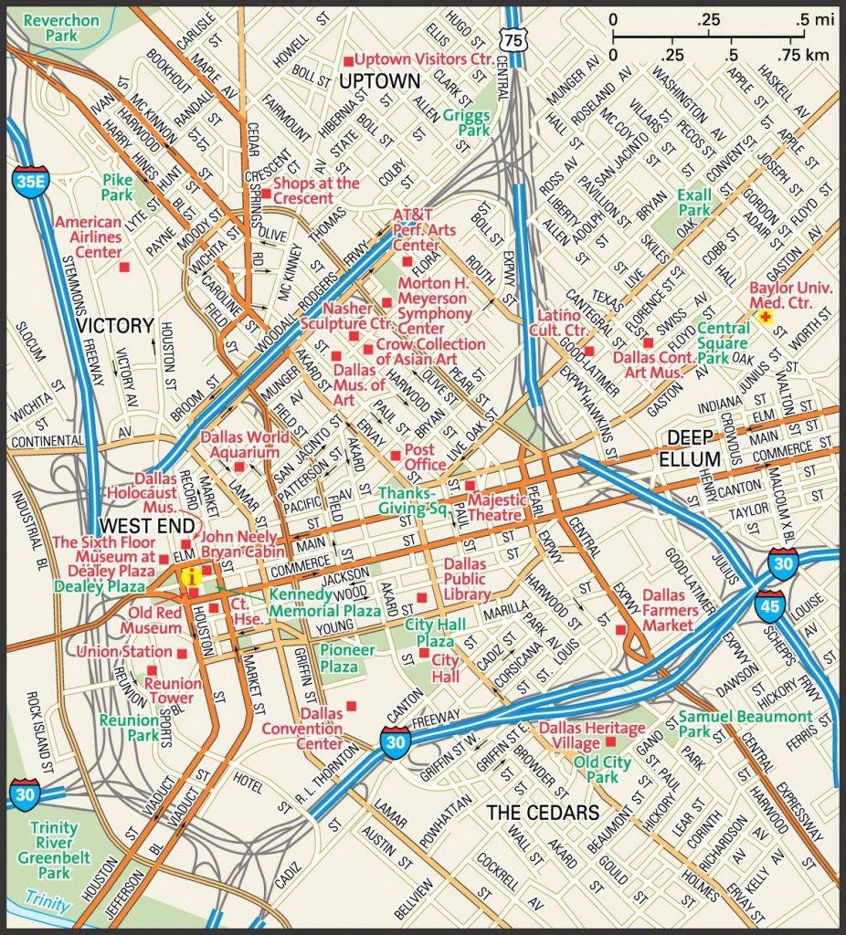 Downtown Dallas Map And Guide   Downtown Dallas Street Map   Travel - Dallas Map Of Texas