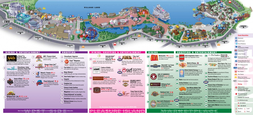 Downtown Disney Map For Downtown Disney, Orlando - Disney Springs Map Printable