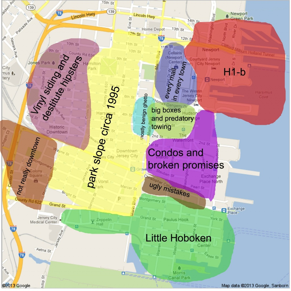 Downtown Jersey City Map | Jc Style! | Jersey City, Jersey Girl, New - Printable Street Map Of Jersey City Nj