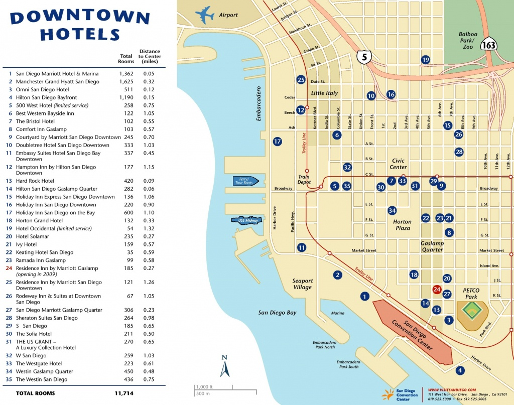 Downtown San Diego Hotel Map - Printable Map Of Downtown San Diego