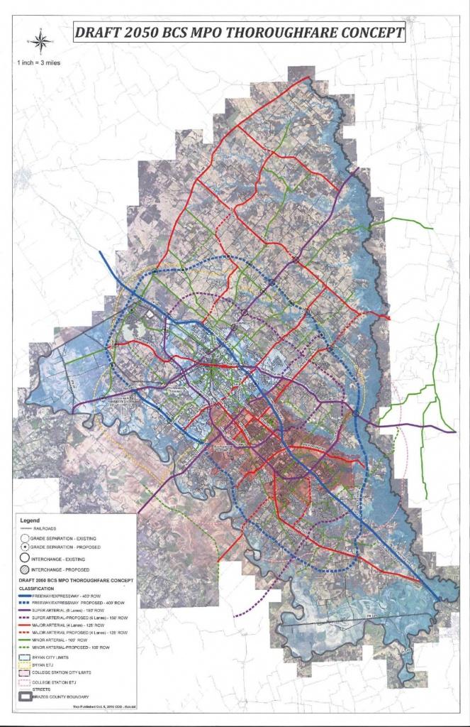 Draft 2050 Bcs Mpo Thoroughfare Concept | Local News | Theeagle - Brazos County Texas Map