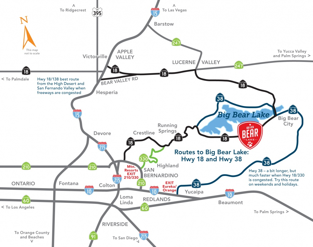Driving Directions Into Big Bear Lake (4 Unique Routes) - Big Bear Mountain Map California