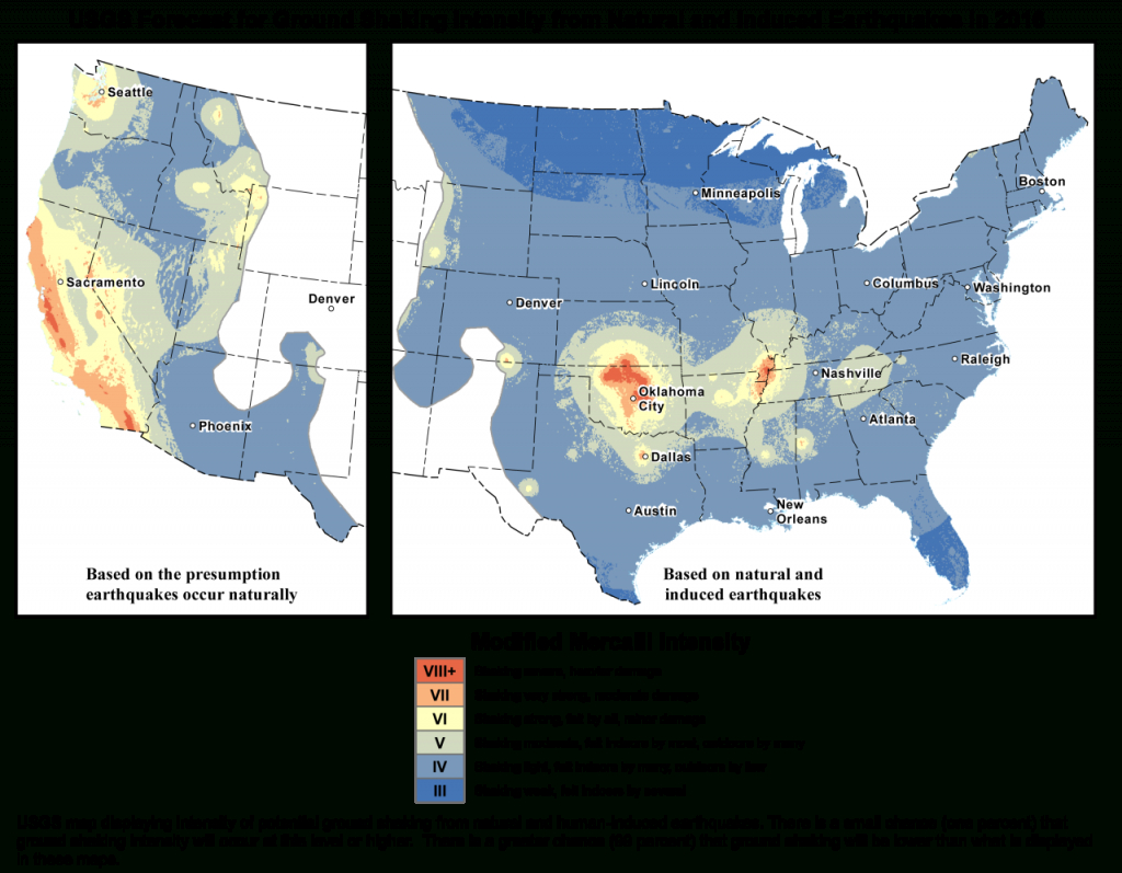 Earthquake Hazard Map Includes Human-Caused Quakes For First Time - Usgs Earthquake Map Texas