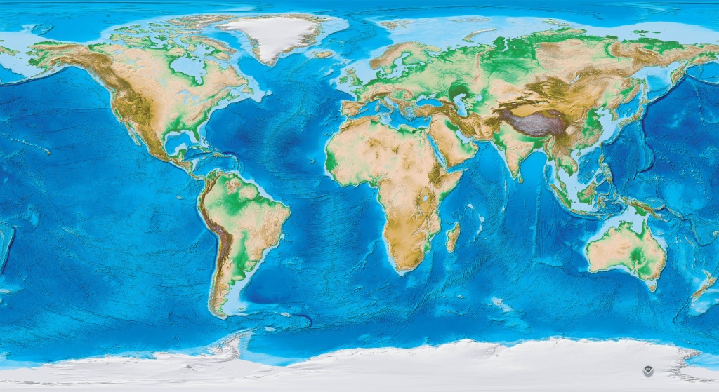Earth's Topography And Bathymetry - No Labels - Topographic World Map Printable