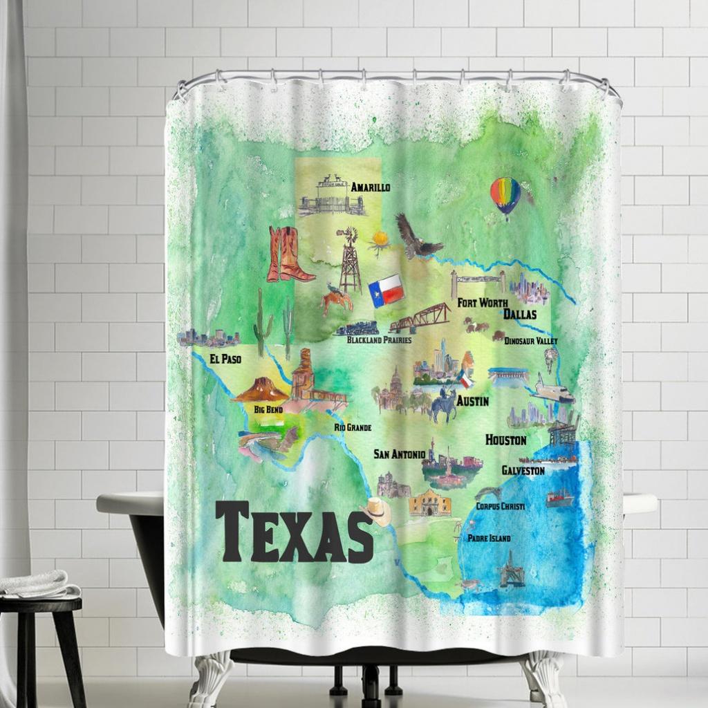 East Urban Home M Bleichner Texas State Travel Map Shower Curtain - Texas Map Shower Curtain