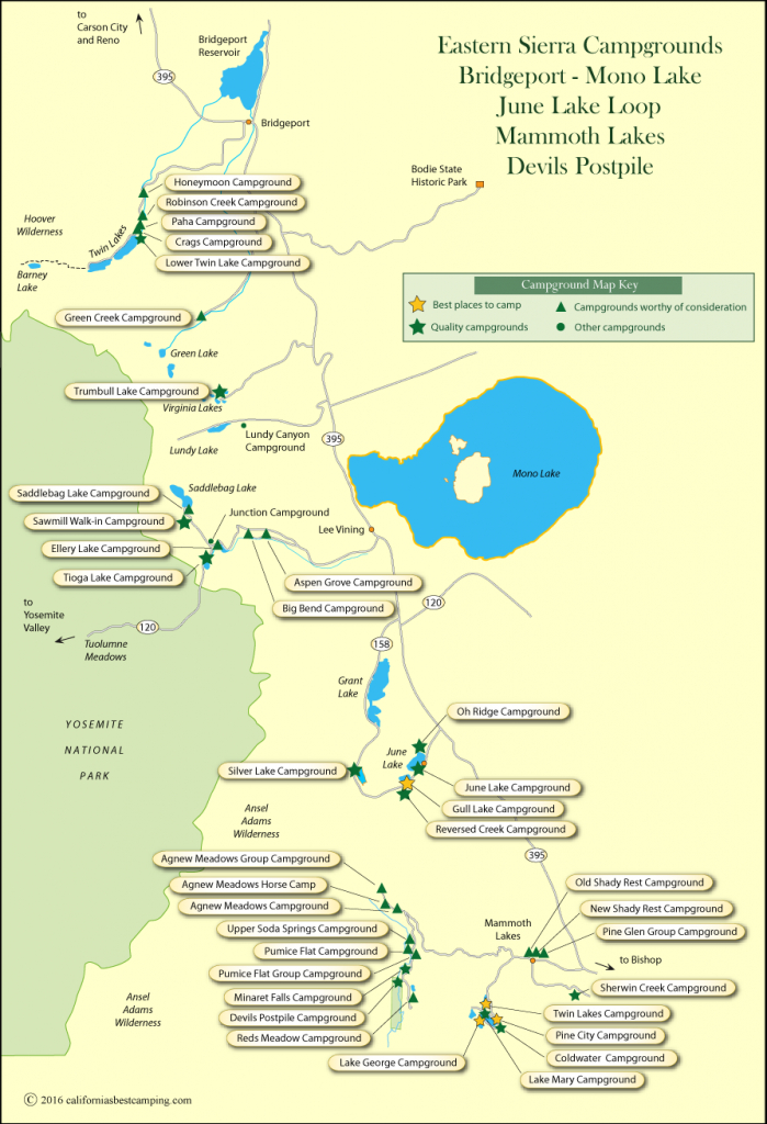 Eastern Sierra Campground Map - Southern California Campgrounds Map