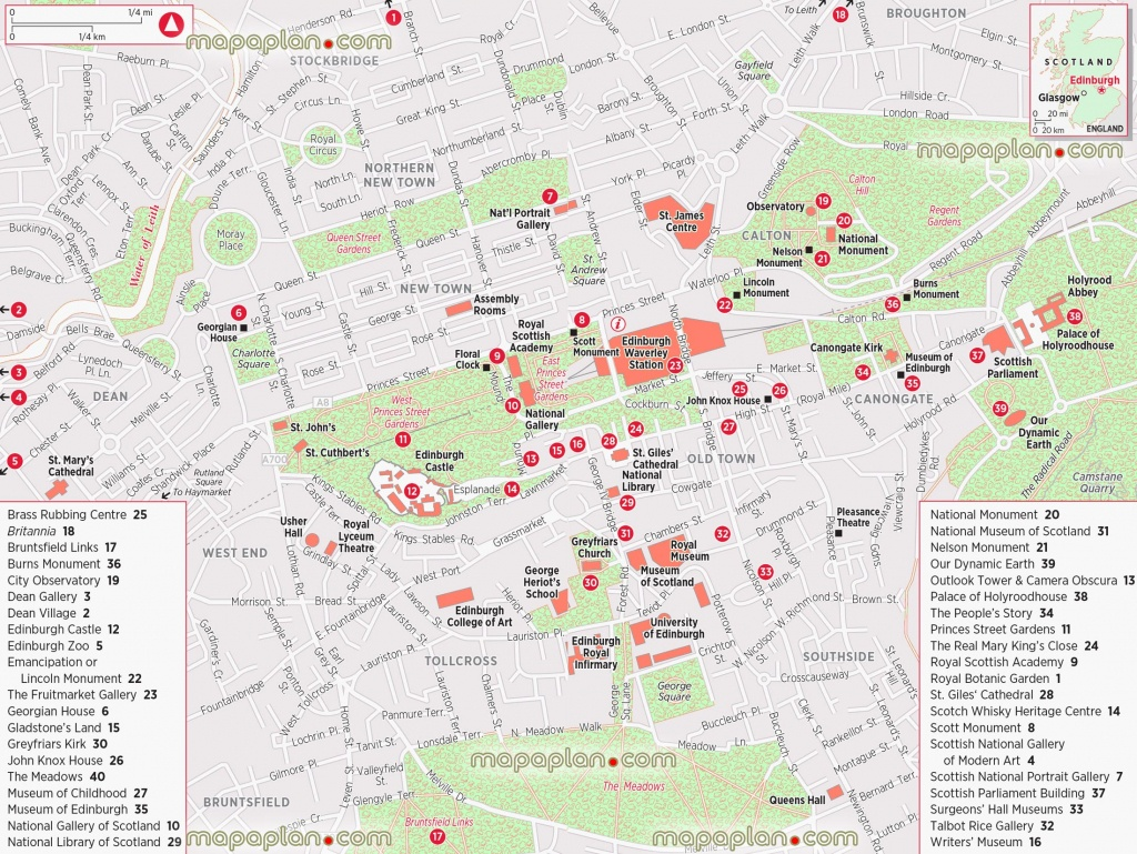 Edinburgh Maps - Top Tourist Attractions - Free, Printable City - Edinburgh City Map Printable