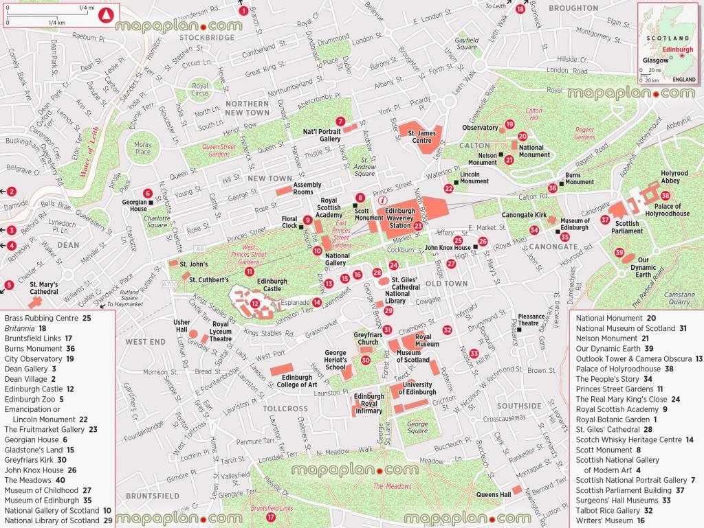 Edinburgh Maps - Top Tourist Attractions - Free, Printable City - Free Printable City Maps
