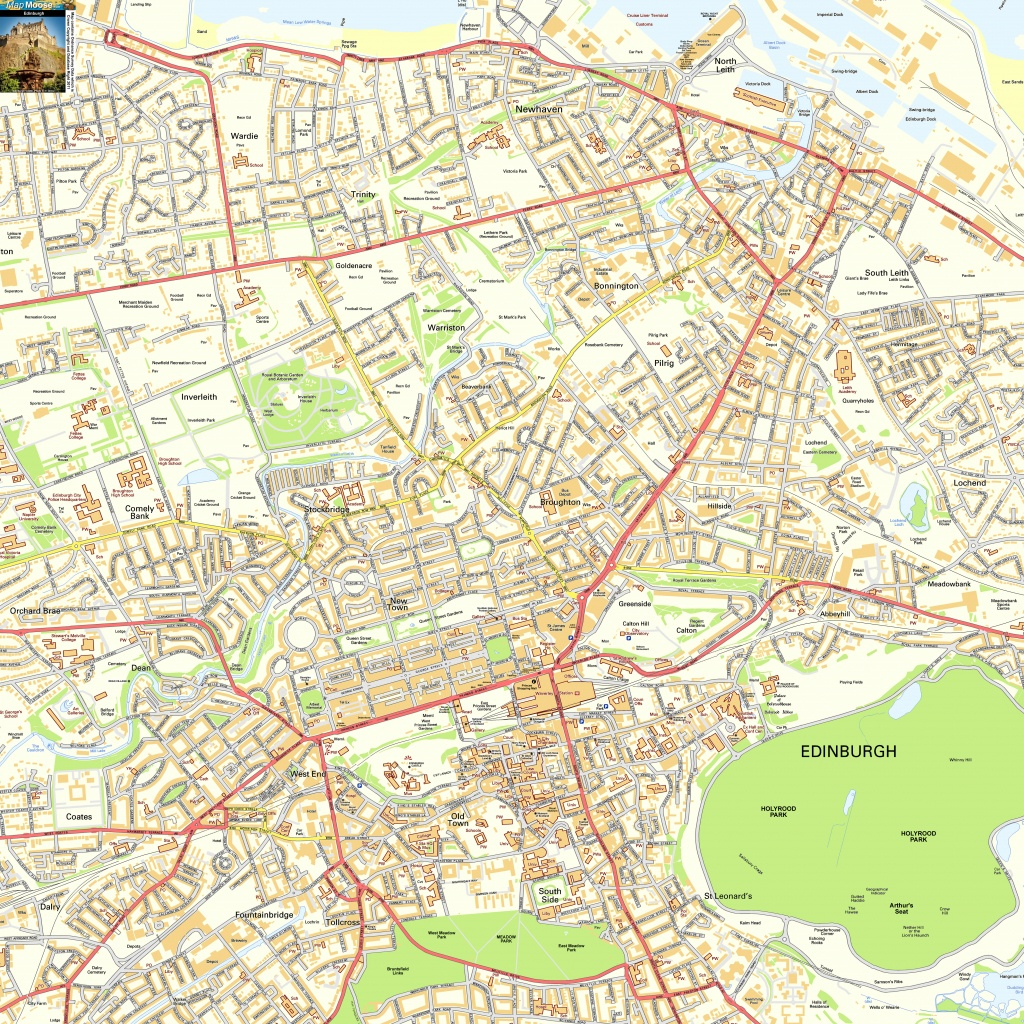 Edinburgh Offline Street Map, Including Edinburgh Castle, Royal Mile - Edinburgh Street Map Printable