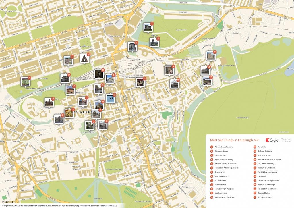 Edinburgh Printable Tourist Map   Sygic Travel - Edinburgh Street Map Printable