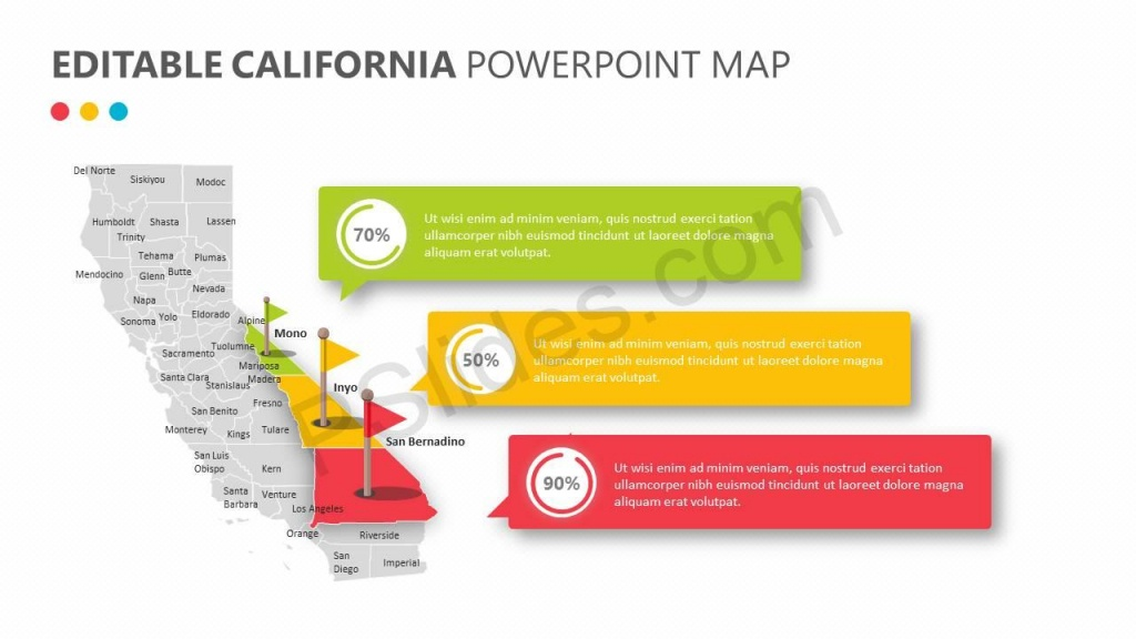 Editable California Powerpoint Map   Pslides - Free Editable Map Of California Counties