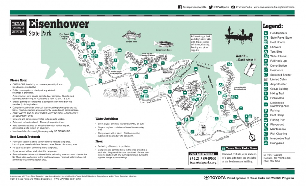 Eisenhower State Park Map | Lake Texoma - Texas State Parks Camping Map