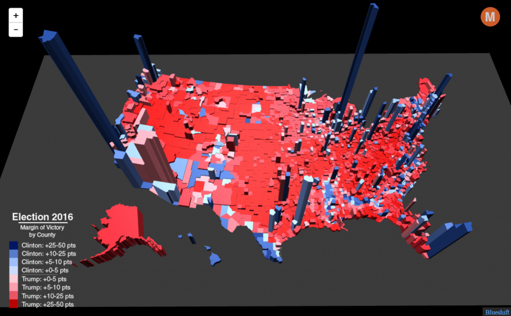 Election Results In The Third Dimension - Metrocosm - 2016 Printable Electoral Map