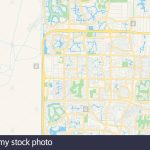 Empty Vector Map Of Coral Springs, Florida, Usa, Printable Road Map   Coral Springs Florida Map