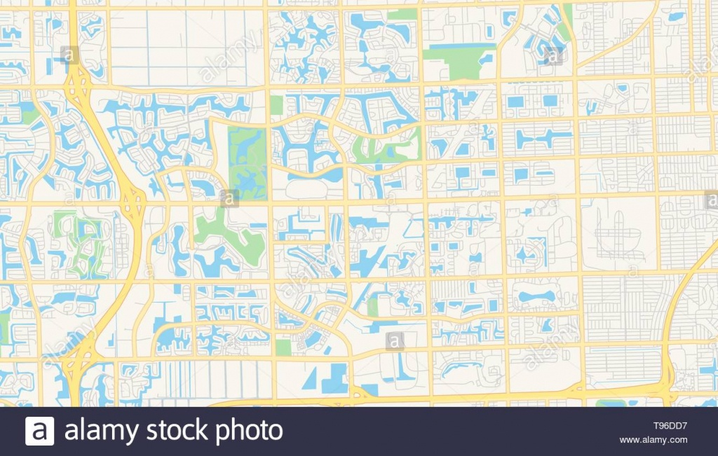 Empty Vector Map Of Pembroke Pines, Florida, Usa, Printable Road Map - Pembroke Pines Florida Map